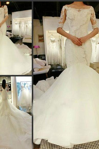 Bright Diamond Sexy Fancy White Wedding Dress Sexy Mermaid 3/4 Long Tail Romantic Bride Dress Ace Custom US Size 2 4 6 8 10 12 14 +++