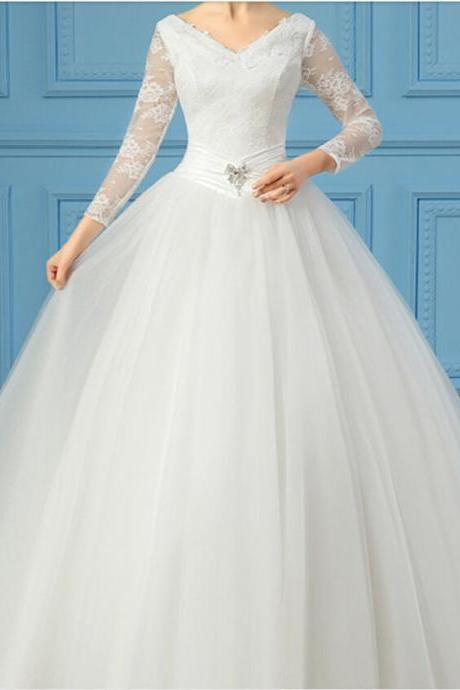 2016 New Sexy White/Ivory Long Sleeve Lace Wedding Dress Bridal Gown Custom Size