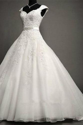 NEW White/Ivory Lace A-line Wedding Dress Bridal Gown Custom Size 4 6 8 10 12 14 16 18+