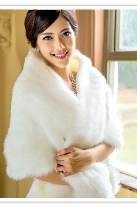 Wedding Shawl Bridal Bolero Winter Wraps Coat Stole Faux Fur Fabric For Brides