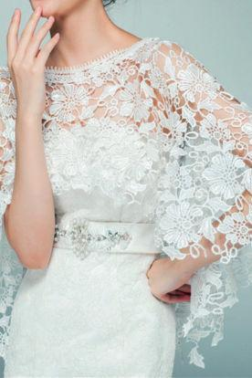 New white/ivory Wedding Top lace tulle bridal shawl wrap stole shrug bolero jacket